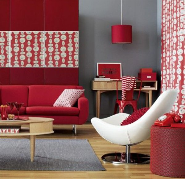 red and gray combinated living room