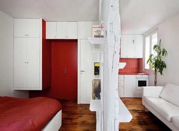 red and white color idea for small flats and bedrooms