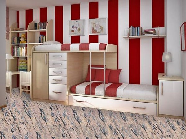 red and white vertical bedroom wall