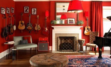 red living room stylish design