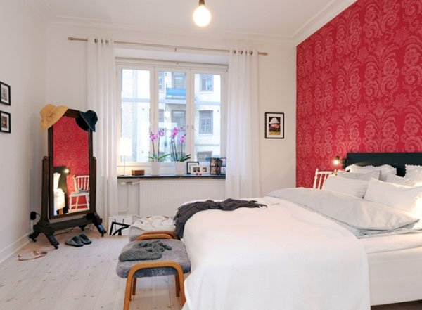red white combination of bedroom
