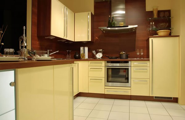 soft yellow kitchen cabinets