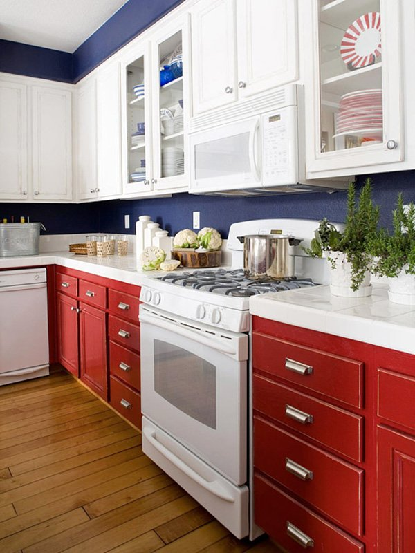 gorgeous white and blue combinated kitchen interior design ideas