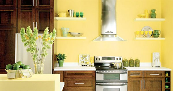 stylish kitchen design with yellow walls
