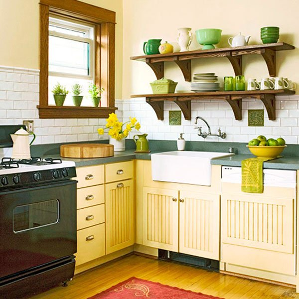 stylish kitchen designed with yellow