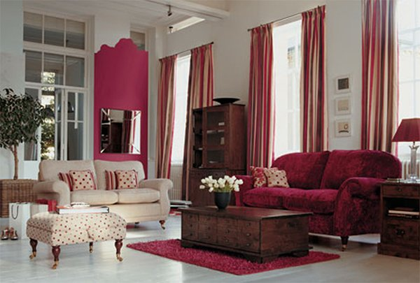 stylish living room - red and white