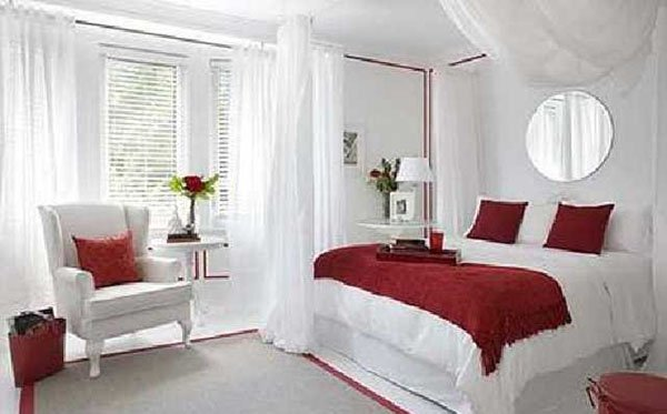 stylish red and white bedroom