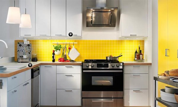 stylish white and yellow kitchen