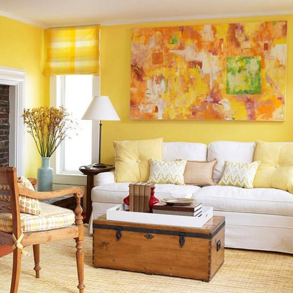 Yellow living room designs for Living room yellow walls