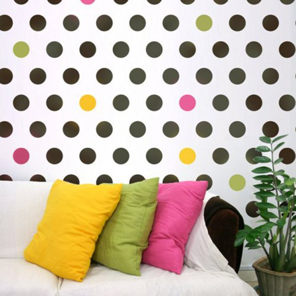 chic stenciled living room wall