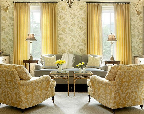 chic yellow liivng room