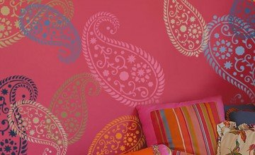 colorful stenciled wall