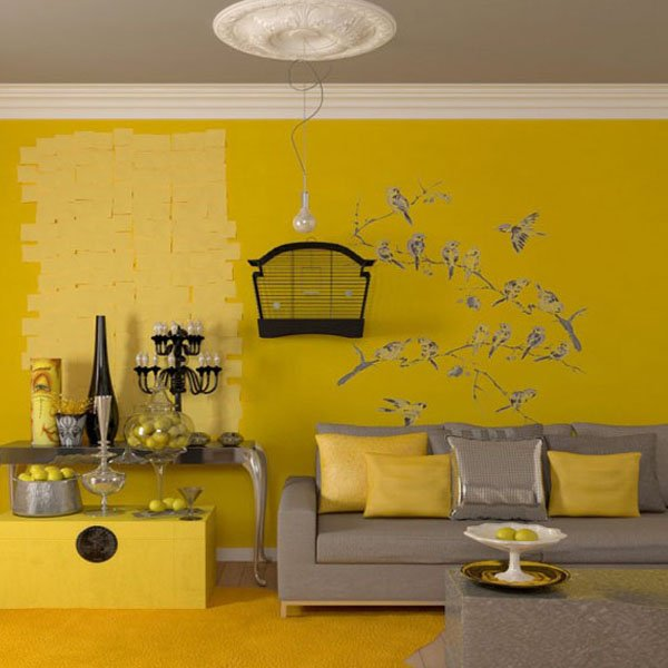 Yellow gray living room design ideas for Grey living room inspiration