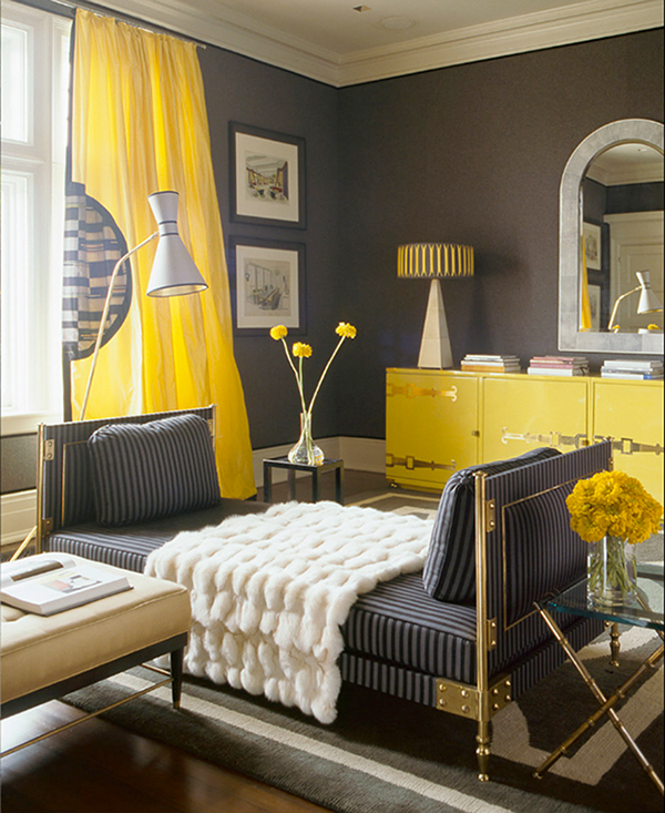 yellow and gray combinated living room