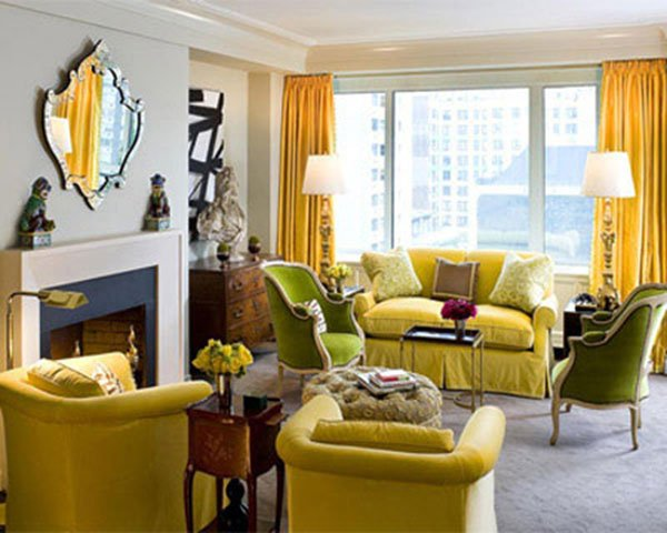 Yellow gray living room design ideas for Interior design ideas yellow living room