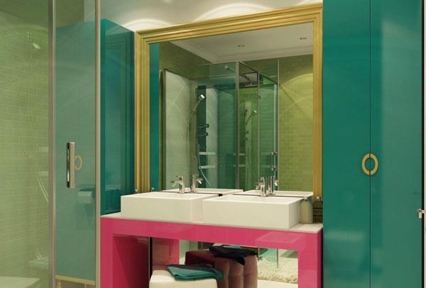 Turquoise & Pink & Gold Color Combinations for Bathroom