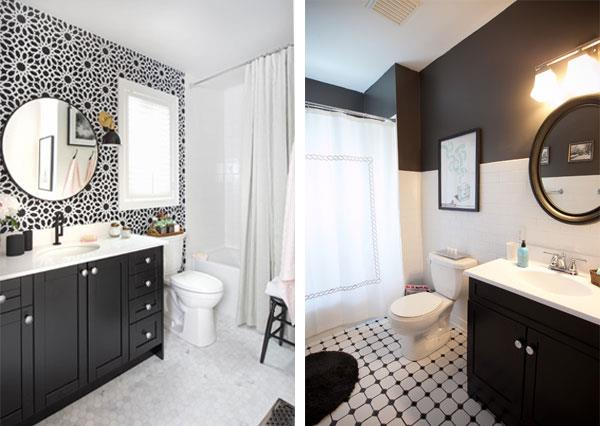 Black White Color Combinations for Bathrooms
