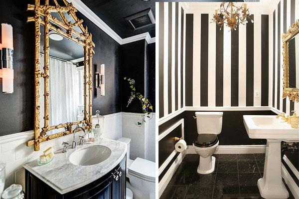 Black & White & Gold Color Combinations for Bathrooms