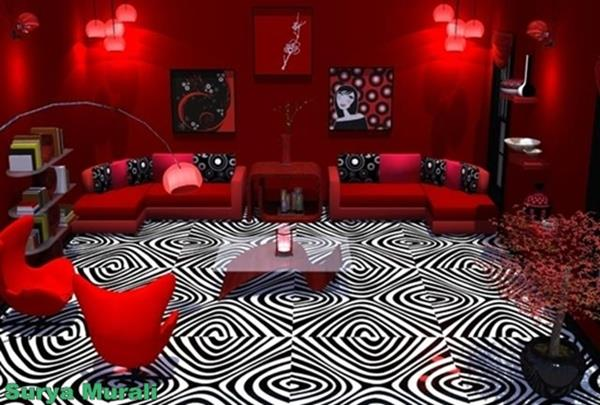 Red Living room design 1