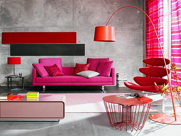 Red Living room design 11