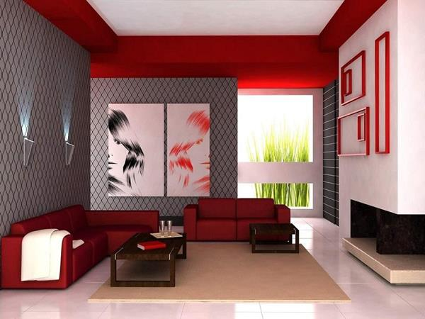 Red Living room design 15