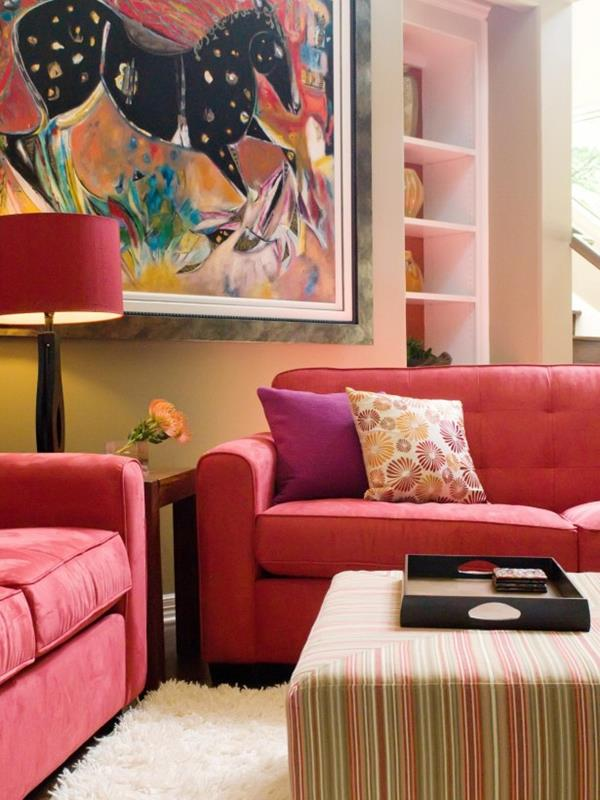 Red Living room design 18