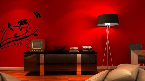 Red Living room design 19