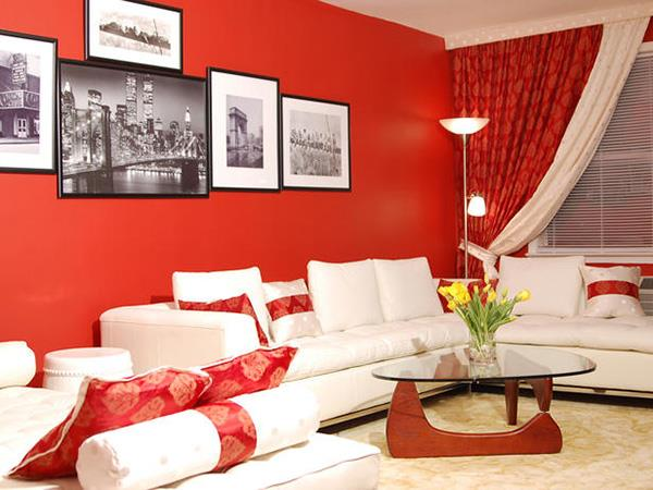 Red Living room design 20