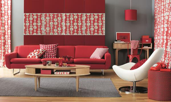 Red Living room design 21
