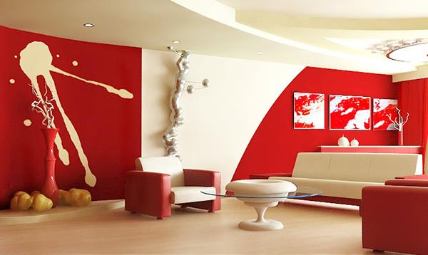 Red Living room design 4
