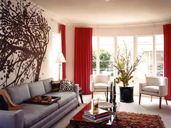 Red Living room design 5