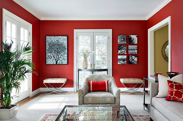 Red Living room design 7