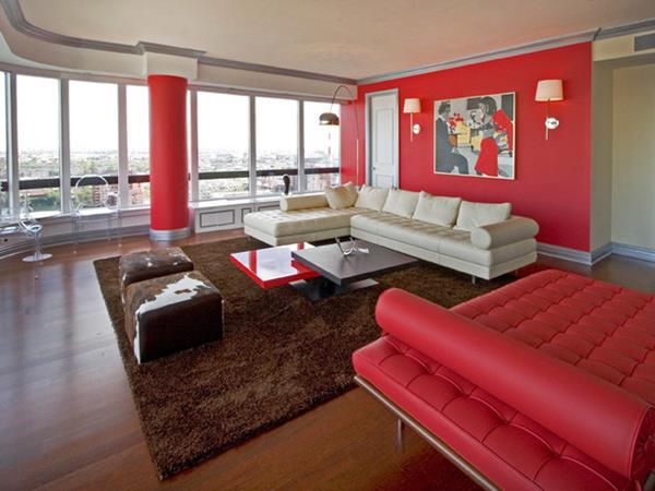 Red Living room design 8