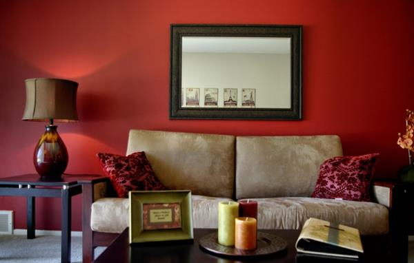 Red Living room design 9