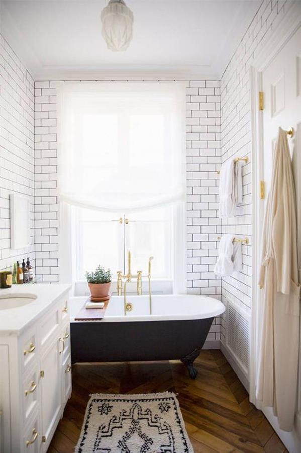 white stylish vintage bathroom