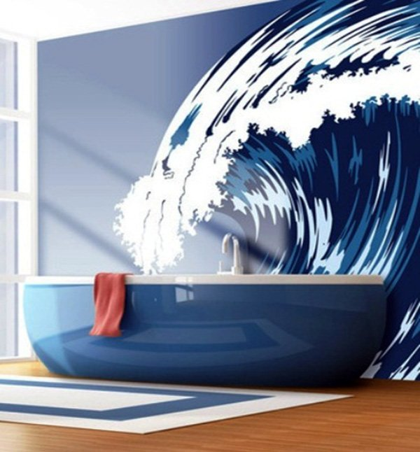 creative-blue-bathtub-wall-design