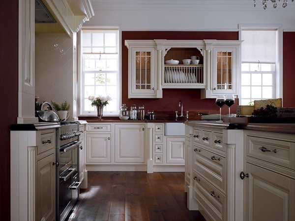 burgundy kitchen